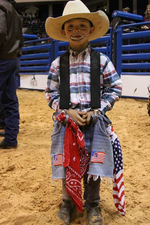 This little guy is a huge fan of Pokey the Clown, and when Pokey met him Saturday morning before his Junior Ranch Rodeo Finals, he even helped him put on some clown makeup.