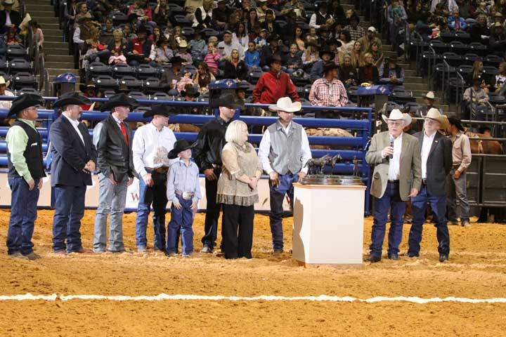 The WCRR arena is the site for the presentation of the prestigious Zoetis AQHA Best Remuda Award, which honors breeders of great ranch horses. The Matador Ranch of Texas is the 2013 recipient, and manager Bob Kilmer addresses the crowd, giving credit and thanks to all who helped earn the achievement.