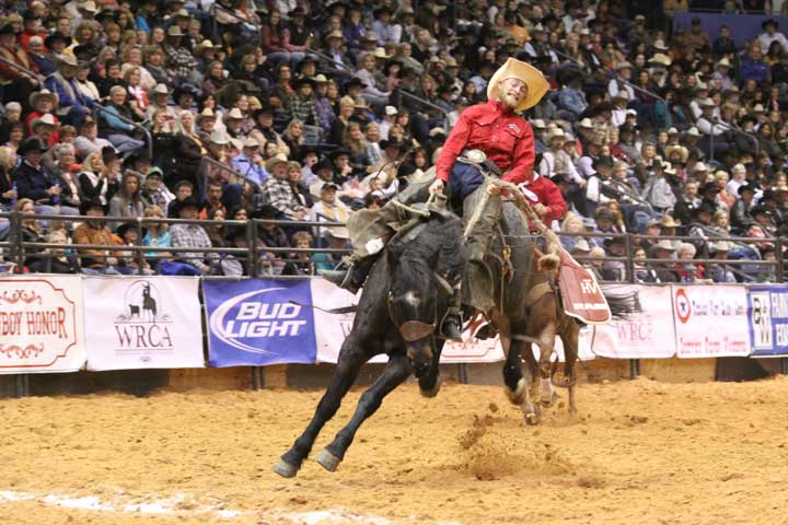 Ryan Rhinehart of the Buford Ranches-Craig Co. team was the first bronc rider out of the chutes Saturday night. He scored a 73 riding Boogerhead from the renowned Harry Vold Rodeo Co. Pretty good bronc name, don