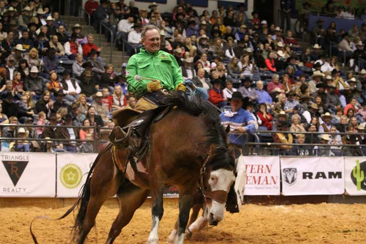 Jerry Bob Daniel of Circle Bar Ranch in Truscott, Texas, took a spin on a bronc in Sunday's performance. At 55, he was an inspiration to many, especially after he made 8 seconds and earned a score of 72.