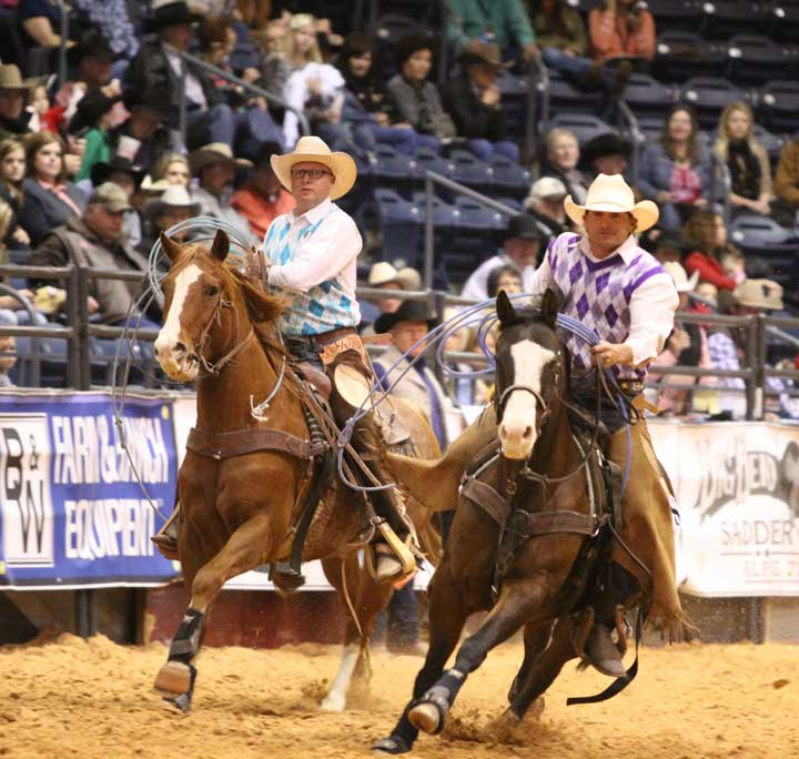 "Dustin Bowling and Jesse Jolly rode in style on Sunday, and the announcers teasingly called them ""Mr. GQ."" They ride for the Jolly Ranch and Lord Ranch team from Agate and Lamar, Colorado."