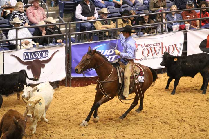 Kye Fuston in the team-branding event Sunday, riding Pheelin Peppy for the Silver Spur-Bell Ranch Division.