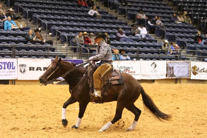 Kelsey Mosby and Boons Hot Tamale won both the senior division and the overall championship of the ranch horse show sponsored by The American Quarter Horse Journal.