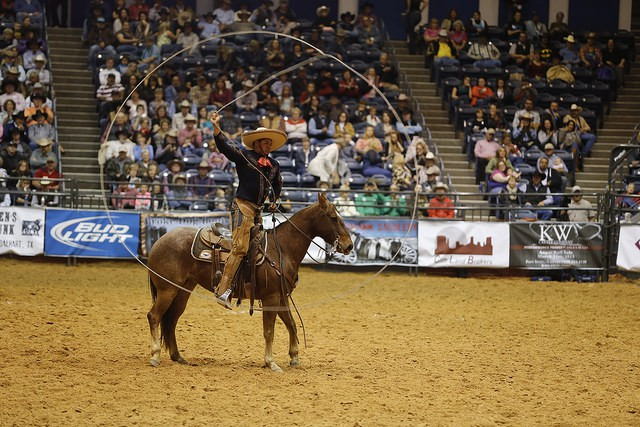 The charro ropers of Escamilla Entertainment thrilled the crowd with their mastery of ropes.