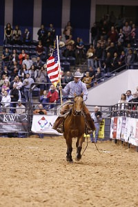 Last year's Top Hand, Chris Potter, flew the American flag during opening ceremonies.