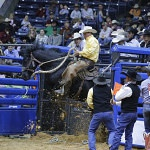 Bruce Beeman, a former WCRR Top Hand, and a 22nd Consecutive ride without being bucked off, flies out of the bucking chutes with the high score of the night, a 77. He rides for the Broken H Ranch and H Cross Ranch team.