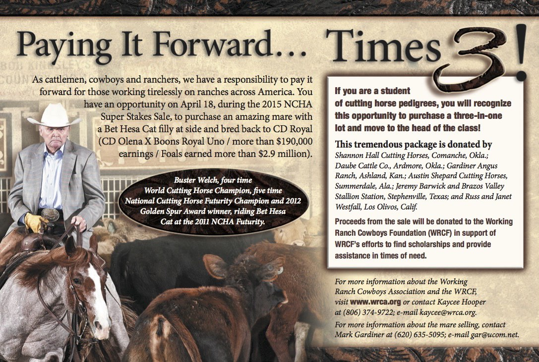 2015 WRCF Mare Ad - Working Ranch Cowboys Association