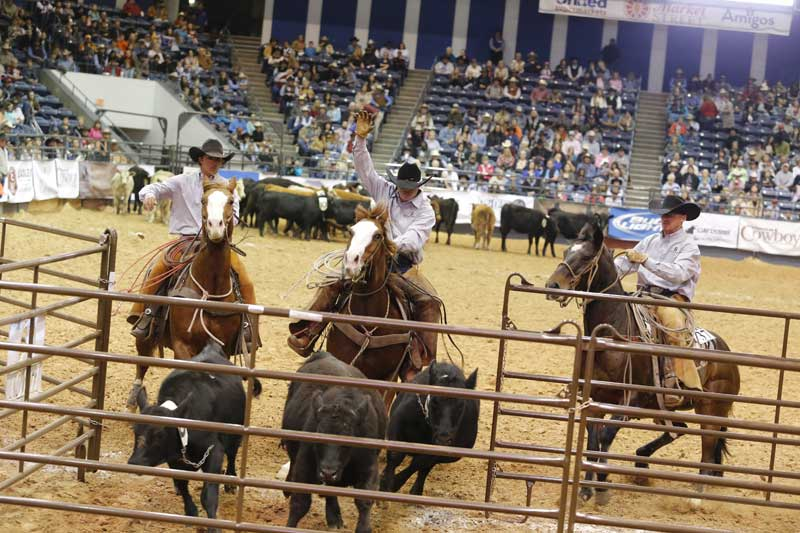 The Spires Land and Cattle team penned their calves in 80.37 seconds Thursday night.