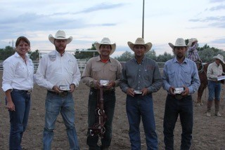 Jolly Ranch & S&L Cattle take top Ranch Team honors in the first-ever Powder River Let 'Er Buck Kaycee Ranch Rodeo, in Kaycee, Wyoming, July 15, 2017.