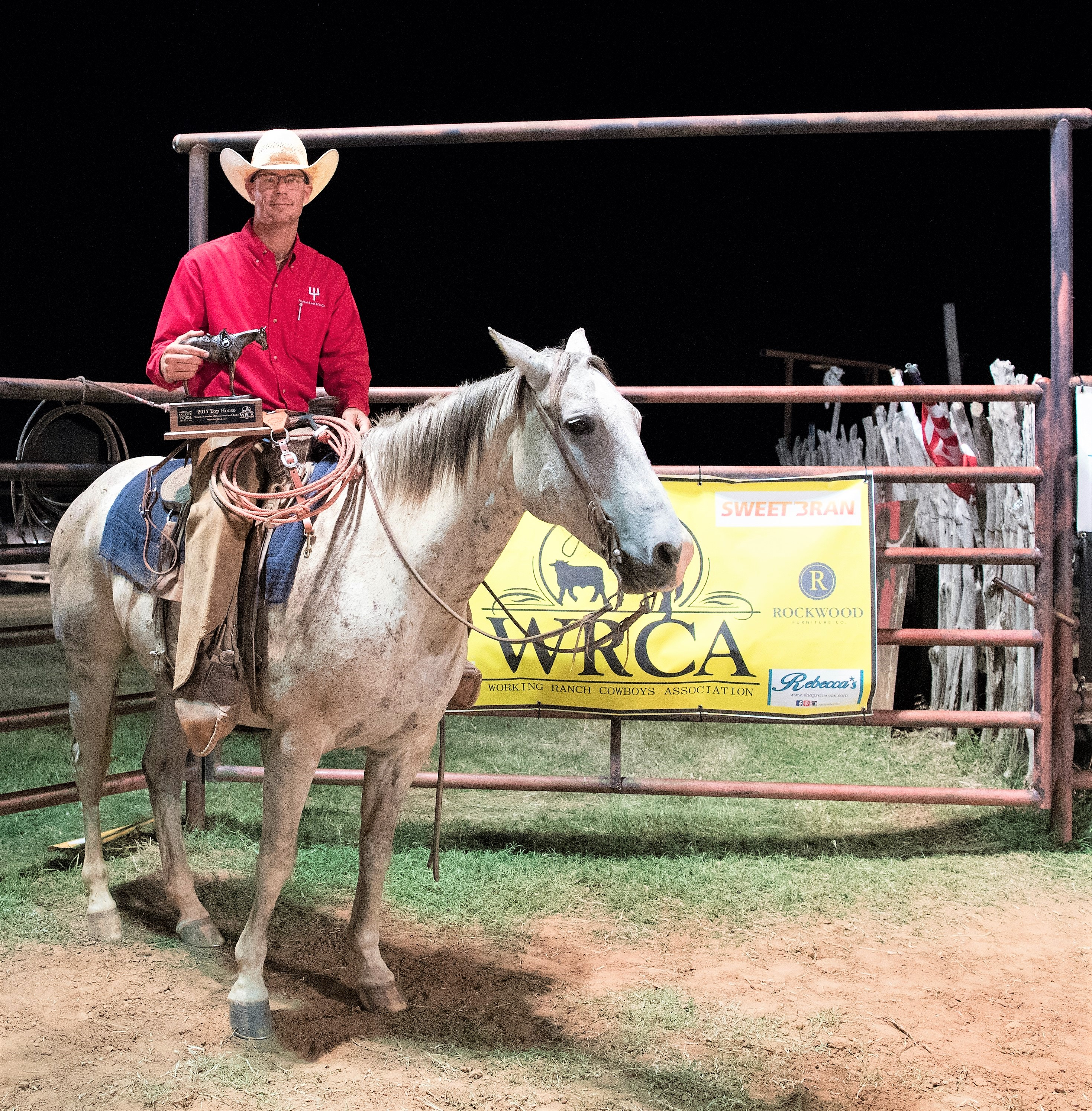 2017 Waurika Chamber of Commerce Ranch Rodeo Top Horse: Cats Hired Gun Ridden By: K.C. Green, Pitchfork Cattle Operations LLC Owned By: Pitchfork Cattle Operations LLC